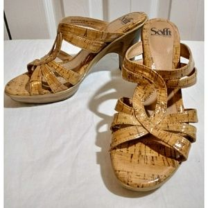Sofft Leather/Cork Sandals Slides SZ 8.5M